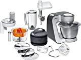 Bosch MUM5 Styline köksmaskin MUM56340, mångsidig, stor rostfri skål (3,9 l), kontinuerlig strimlare, mixer, citruspress, köttkvarn, 900 W, silver / antracit